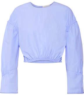 3.1 Phillip Lim Gathered Cotton-poplin Top - Sky blue