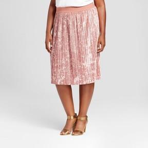 Ava & Viv Women's Plus Size Velvet Pleated Skirt