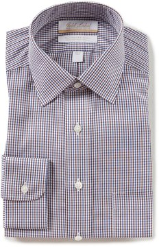 Roundtree & Yorke Gold Label Non-Iron Regular Full-Fit Spread-Collar Checked Dress Shirt