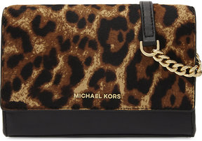MICHAEL Michael Kors Ruby medium leopard-print leather and haircalf clutch - BUTTERSCOTCH - STYLE