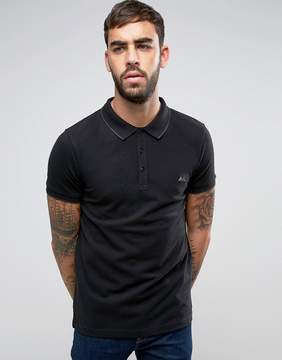 Lindbergh Tipped Pique Polo Logo Regular Fit in Black