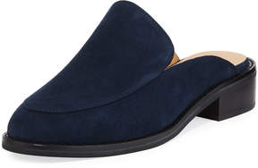 Neiman Marcus Ailey Suede Slide Loafer Mule, Blue