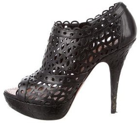 Alaia Leather Laser-Cut Booties