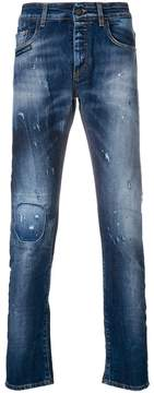 Frankie Morello paint stain slim fit jeans