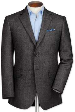 Charles Tyrwhitt Classic Fit Grey Birdseye Lambswool Wool Jacket Size 38