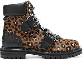 Jimmy Choo Breeze Studded Leather-trimmed Leopard-print Calf Hair Ankle Boots - Leopard print