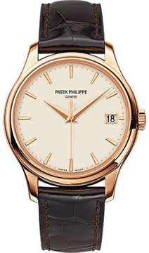 Patek Philippe Calatrava 5227R-001 18K Rose Gold / Leather with Ivory Dial 39mm Mens Watch