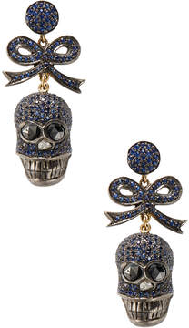 Artisan Women's 18K Gold Sapphire Bow Tie Skull Earrings