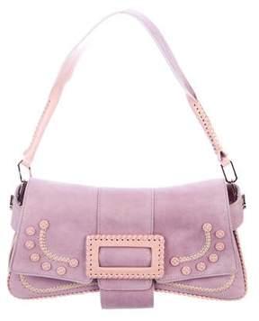 Roger Vivier Patent Leather-Trimmed Suede Shoulder Bag