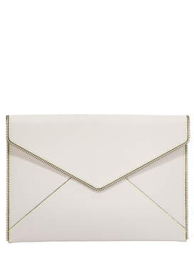 Rebecca Minkoff Leo Clutch with Contrast Stitching - PUTTY - STYLE