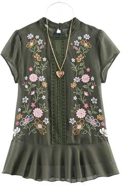 Knitworks Girls 7-16 Floral Embroidered Chiffon Top with Necklace