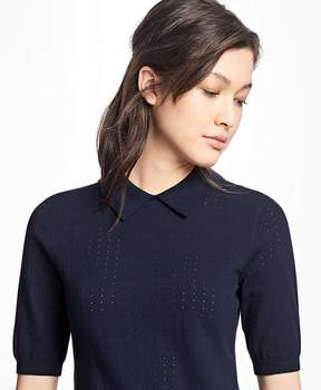 Brooks Brothers Pointelle Polo Sweater