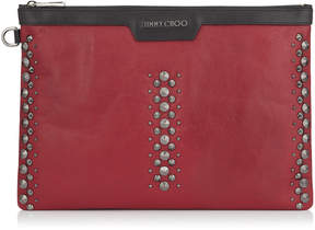 Jimmy Choo DEREK Red Leather Document Holder with Punk Studs