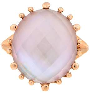 Frederic Sage 18k Pg Small Oval Checker Top Pink Mop and Crystal No Diamond Ring