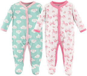 Luvable Friends Pink & Blue Unicorns Sleep & Play Two-Piece Footie Set - Infant