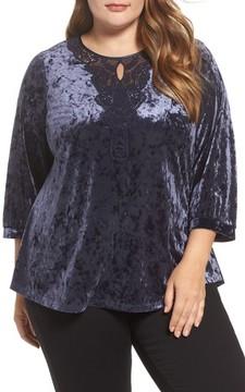 Daniel Rainn Plus Size Women's Lace Neck Velvet Top