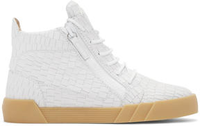 Giuseppe Zanotti White Croc-Embossed London Mid-Top Sneakers