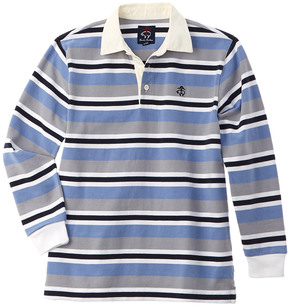 Brooks Brothers Boys' Grey & Blue Striped Rugby Shirt