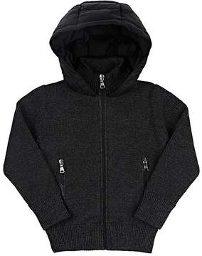 Moncler Kids' Rib-Knit & Down-Quilted Hooded Sweater