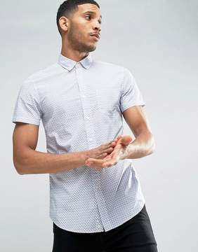 Benetton Printed Short Sleeved Shirt In Slim Fit