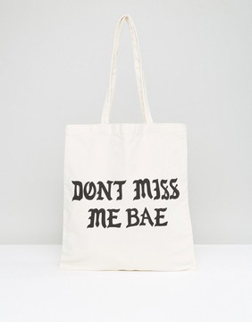 Monki Miss Me Bae Canvas Shopper Bag