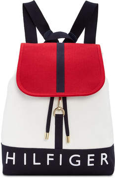 Tommy Hilfiger Sporty Signature Canvas Flap Backpack