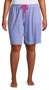 Karen Neuburger Plus Geo-Print Drawstring Bermuda Shorts