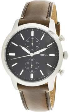 Fossil Men's Townsman FS5280 Silver Leather Japanese Quartz Fashion Watch