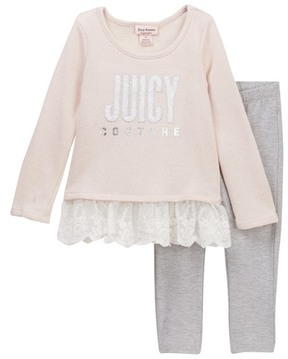 Juicy Couture Sparkle French Terry Lace Bottom Tunic & Animal Print Leggings Set (Little Girls)