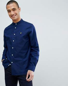 Lyle & Scott Grandad Collar Shirt In Navy