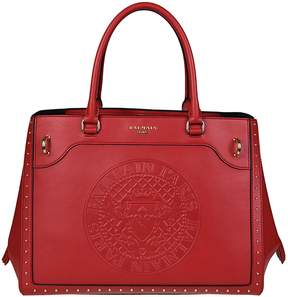 Balmain Leather Maxi Logo Red Tote