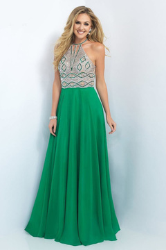 Blush Lingerie Bead Embellished High Neck Chiffon A-line Gown 11002
