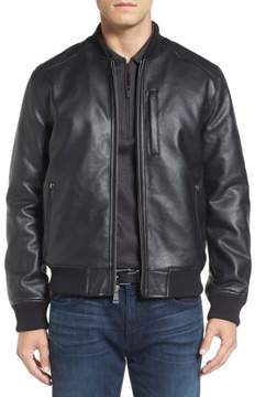 Cole Haan Men's Faux Leather Varsity Jacket