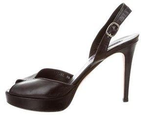 Ralph Lauren Leather Peep-Toe Pumps