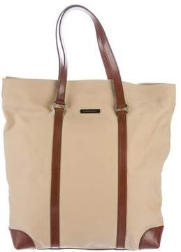 Burberry Leather-Trimmed Canvas Tote