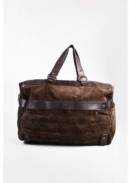 Roberto Cavalli Pre-owned Men's Brown Suede Leather Travel Duffel Bag.