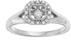 Brilliance+ Brilliance In Motion Brilliance in Motion 1/8 Carat T.W. Diamond Sterling Silver Square Halo Ring