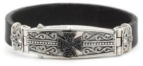 Konstantino Men's Plato Maltese Cross Leather Bracelet