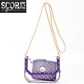 clear PU Cross Body Shoulder Bag for Game Day Chrissy Royal Purple & Gold by SCORE! The Official Game Day Bag Two Piece Set