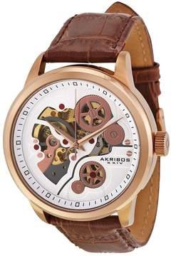 Akribos XXIV Akribos Manual Wind Rose Gold-tone Skeleton Dial Men's Watch