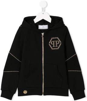Philipp Plein Junior studded logo hoodie