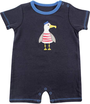 Hudson Baby Navy Seagull Romper - Newborn
