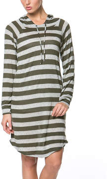 Celeste Olive Stripe Hooded Dress - Women