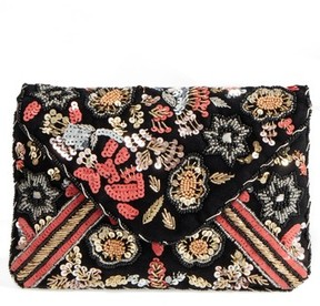 Sole Society Floral Sequin Clutch - Black