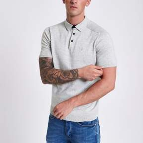 River Island Mens Grey wasp embroidered slim fit polo shirt