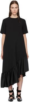 Edit Black Asymmetric Oversized Peplum Dress