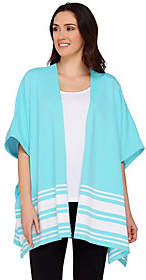 Denim & Co. Active Knit Poncho with StripeDetail