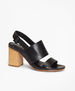Brooks Brothers Leather Block-Heel Sandals
