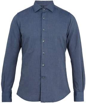 Glanshirt Spread-collar cotton-chambray shirt