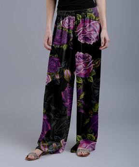 Lily Black & Purple Floral Palazzo Pants - Women & Plus